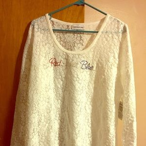 NWT size 2x long sleeve lace tee patriotic theme
